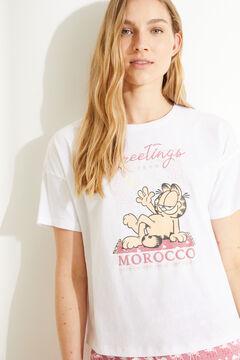Womensecret Пижама с верхом с короткими рукавами и брюками капри из 100 % хлопка розового цвета «Гарфилд» белый