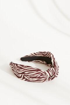 Womensecret Ободок для волос с узлом и зебровым принтом бежевый