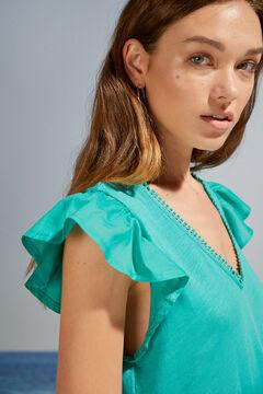 Womensecret Короткое зеленое платье на бретелях с воланами зеленый