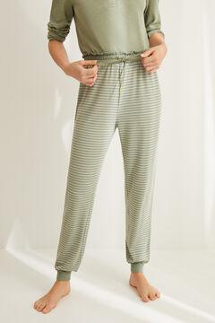 Womensecret Зеленые брюки-джоггеры в полоску цветной