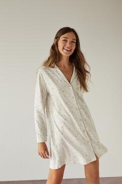 Womensecret Ночная рубашка в рубашечном стиле с принтом с луной из 100% органического хлопка серого цвета серый