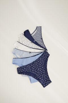 Womensecret Набор из 7 трусиков-бразильяна из хлопка голубой