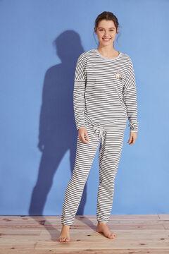 Womensecret Длинная пижама в полоску из 100 % хлопка «Губка Боб»  бежевый