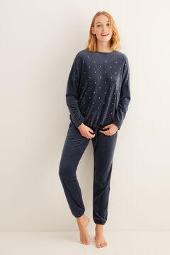 Womensecret Длинная пижама синего цвета с принтом «Луна» серый