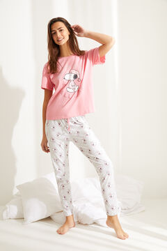 Womensecret Хлопковая длинная пижама с верхом с короткими рукавами «Снупи» розовый