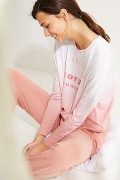 Womensecret Пижама с верхом с длинными рукавами из невероятно мягкого трикотажа розового цвета розовый