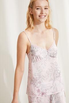 Womensecret Короткая атласная пижама с топом на бретелях и цветочным принтом розовый