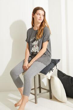 Womensecret Хлопковая пижама с брюками капри «101 далматинец» с полосатым принтом серый