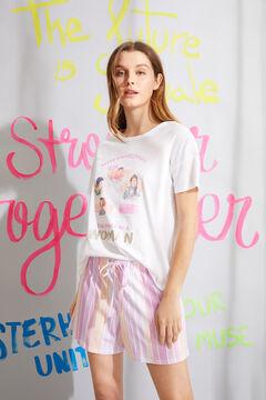 Womensecret Короткая пижама из органического хлопка с принтом «Woman» белый