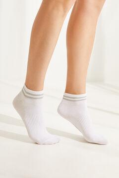 Womensecret Набор из 3 пар хлопковых коротких носков в полоску  белый
