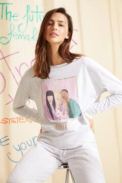 Womensecret Белая длинная пижама из органического хлопка серый