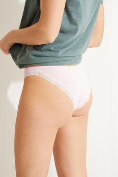 Womensecret Трусики-бразильяна из хлопка с кружевом розовый