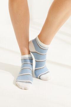 Womensecret Короткие хлопковые носки в полоску синего цвета голубой