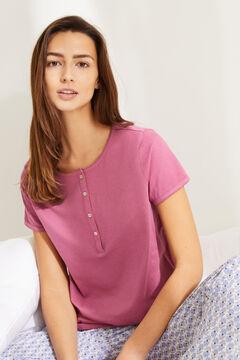 Womensecret Розовая футболка из хлопка с круглой горловиной на пуговицах розовый