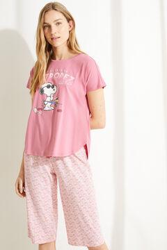 Womensecret Пижама с верхом с короткими рукавами и принтом в виде ракушек из 100 % хлопка «Снупи» розовый