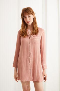 Womensecret Ночная рубашка с длинными рукавами из атласа с вышивкой белого цвета розовый