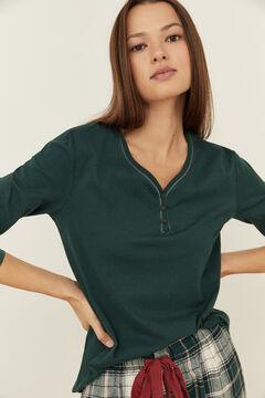 Womensecret Зеленая хлопковая термофутболка с широкой круглой горловиной на пуговицах зеленый