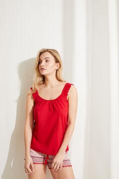 Womensecret Короткая пижама с верхом на бретелях из 100% хлопка с этническим цветочным принтом красный