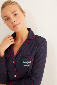 Womensecret Ночная рубашка из хлопка с сердечками голубой