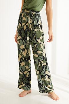 Womensecret Зеленые длинные струящиеся брюки с цветочным принтом зеленый