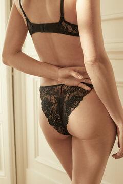 Womensecret Черные трусики-бразилиана с тесемками и кружевом черный