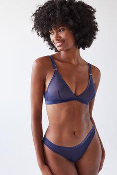 Womensecret NATURAL Бюстгальтер с треугольными чашками с тюлем синего цвета голубой