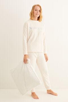 Womensecret Белая длинная пижама из флиса цветной
