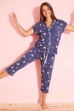 Womensecret Хлопковая пижама в рубашечном стиле «Коржик» голубой