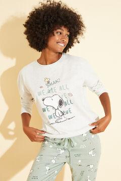 Womensecret Хлопковая длинная пижама цвета слоновой кости «Снупи» бежевый