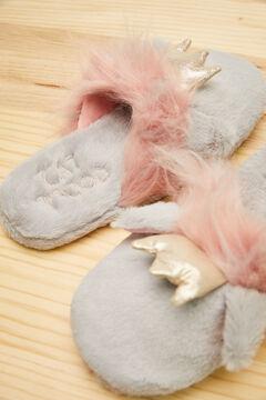 Womensecret Серые домашние тапочки без задника «Кошка» серый