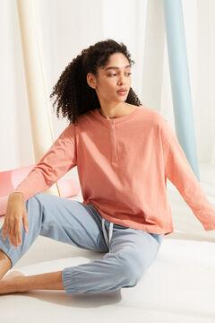 Womensecret Коралловая хлопковая футболка с длинными рукавами и круглой горловиной на пуговицах розовый