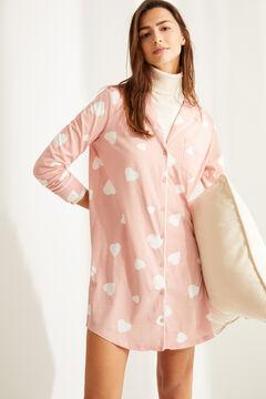 Womensecret Хлопковая ночная рубашка в рубашечном стиле с пуговицами розовый