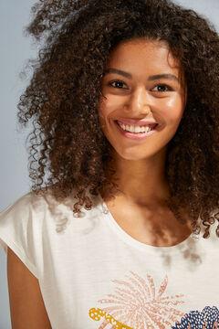 Womensecret Хлопковый топ с короткими рукавами белого цвета бежевый