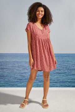 Womensecret Короткое платье на пуговицах с короткими рукавами и цветочным принтом бежевый