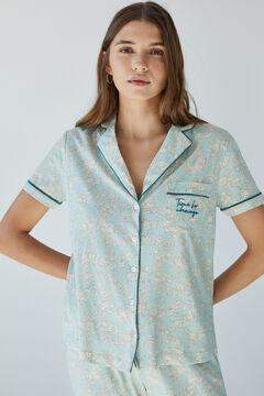 Womensecret Пижама в рубашечном стиле из экологичного хлопка зеленого цвета зеленый