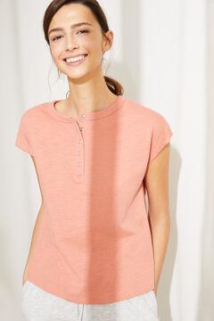 Womensecret Коралловая футболка из хлопка с короткими рукавами и круглой горловиной на пуговицах розовый