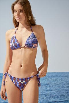 Womensecret Трусики бикини с тропическим принтом и завязками голубой