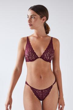 Womensecret Бордовые кружевные трусики-бразилиана цветной