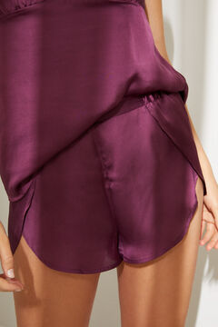 Womensecret Атласная короткая пижама с топом на бретелях баклажанового цвета розовый
