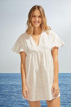Womensecret Короткое белое платье с короткими рукавами с вышивкой бежевый