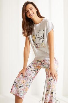 Womensecret Серая хлопковая пижама с брюками капри «Снупи» розовый