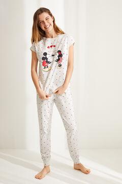 Womensecret Пижама из хлопка с принтом «Микки Маус и Минни Маус» серый