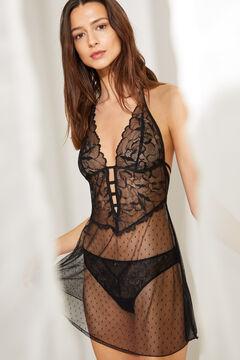 Womensecret Серая короткая ночная рубашка на бретелях из плюмети черный