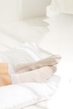 Womensecret Короткие хлопковые носки с люрексом  бежевый