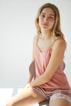 Womensecret Короткая пижама с верхом на бретелях из органического хлопка розовый