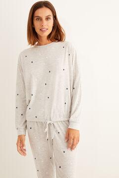 Womensecret Теплая длинная пижама с принтом «Звезды» серого цвета серый