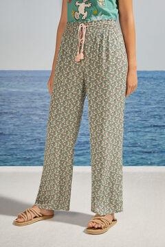 Womensecret Длинные брюки с цветочным принтом зеленый