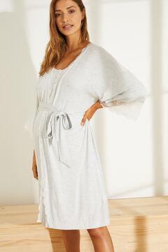 Womensecret Серый халат с кружевной отделкой серый