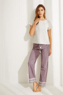 Womensecret Длинная пижама с верхом с короткими рукавами из 100 % хлопка с этническим цветочным принтом серый
