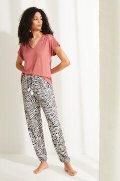 Womensecret Длинные брюки с принтом «зебра» бежевый